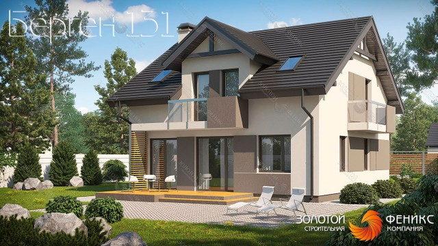 """Красивый панельно-каркасный дом с мансардным окном """"Берген 131"""""""