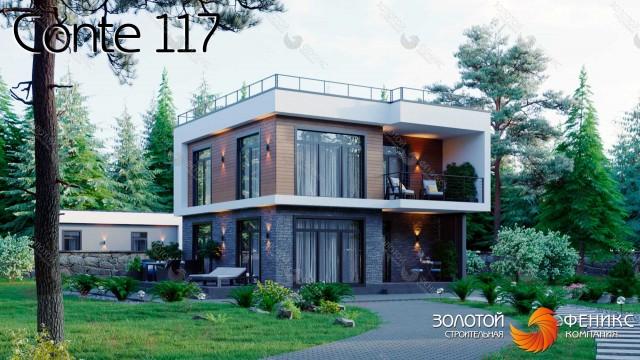 Каркасный 2-этажный дом из категории до 150 кв. с 3 спальнями, большими окнами эксплуатируемой кровлей