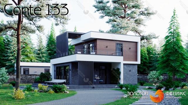 Красивый каркасный современный дом 9х10 с большой террасой на 2 этаже, 4 спальнями, 2 из которых на 1 этаже