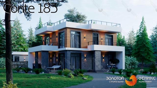 Каменный 2-этажный дом в стиле хай-тек с камнем и лиственницей во внешней отделке, 4 спальнями