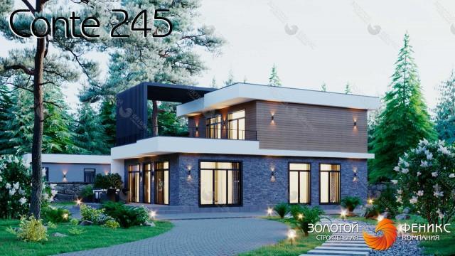 Каркасный 2-этажный кубический современный дом, площадью 245 кв. м, с 4 спальнями, 2 из которых на 1 этаже, 2 гардеробными и террасой