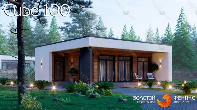 """Авторский проект дома в стиле """"куб"""" 100 кв.м с различными вариантами строительства"""