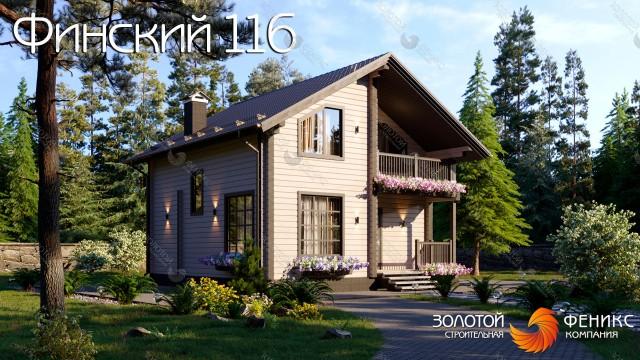 """Небольшой дом из клееного бруса с мансардой, большим балконом и сауной """"Финский 116"""""""