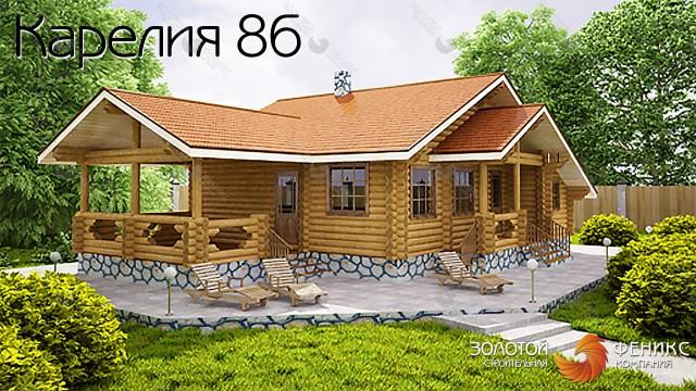 """Гостевой дом-баня из оцилиндрованного бревна """"Карелия 86"""""""