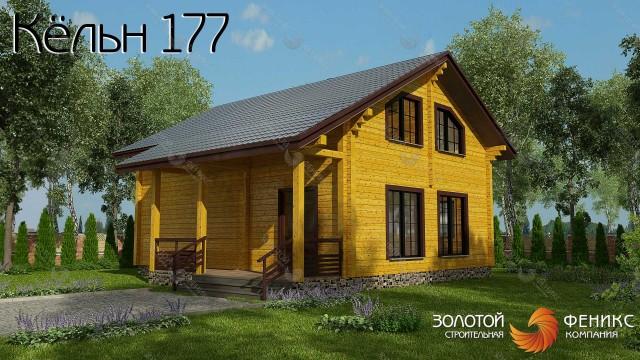 """Дом из бруса с двускатной крышей, мансардой и 5-ю спальнями """"Кёльн 177"""""""