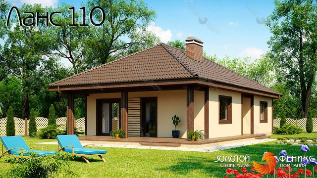 """Компактный каркасный дом с боковой террасой """"Ланс 110"""""""