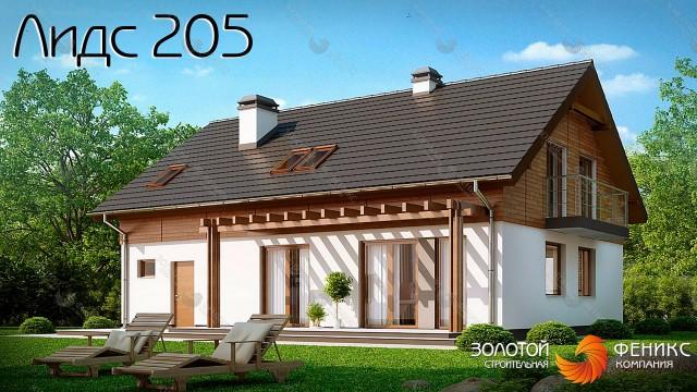 """Проект каркасно-панельного дома с мансардой и встроенным гаражом """"Лидс 205"""""""