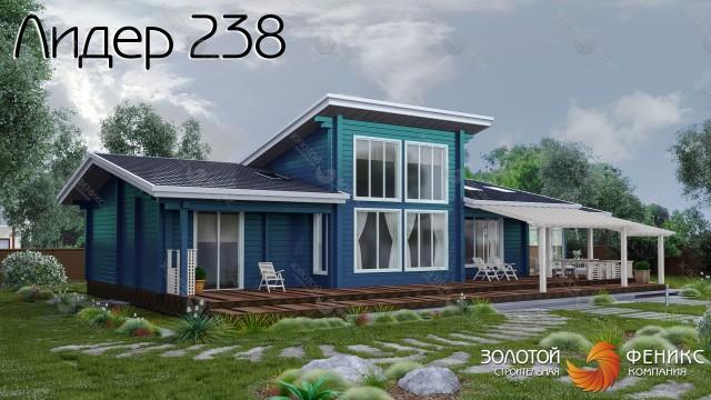 """Одноэтажный дом из клееного бруса с зимним садом и большой гостиной с панорамным остеклением """"Лидер 238"""""""