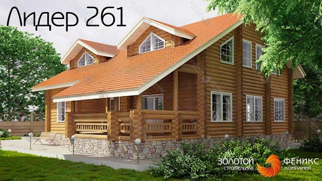 """Большой дом из бревна """"Лидер 261"""""""
