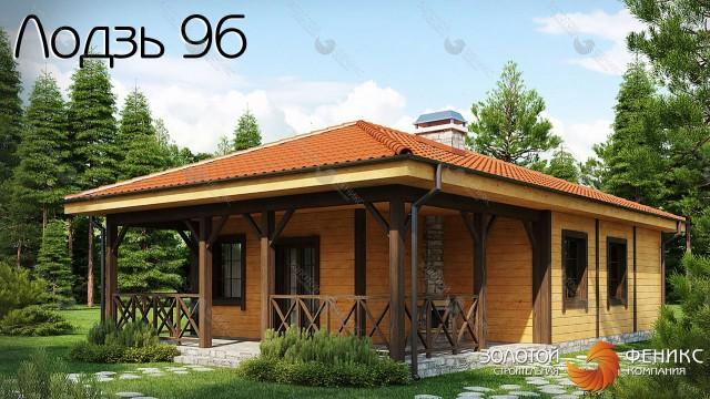 """Каркасный дом с большой крытой террасой """"Лодзь 96"""""""