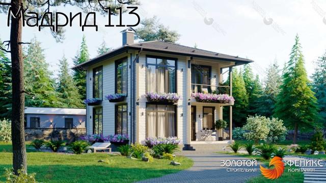 Двухэтажный современный дом 9х9 из клееного бруса с полноценным 2 этажом, 3 спальнями на 2 этаже и панорамными окнами