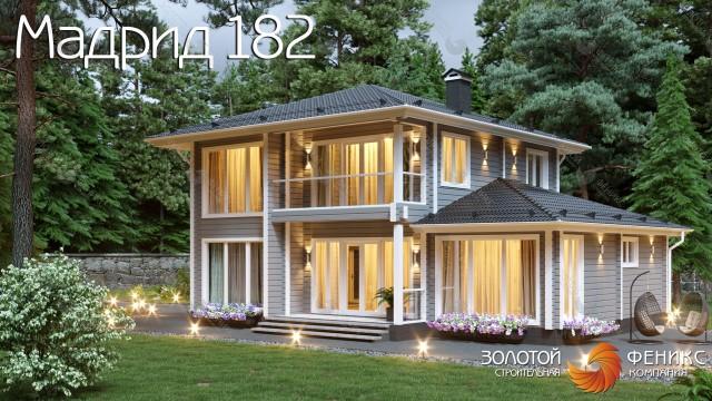 """Современный и функциональный дом из клееного бруса с панорамными окнами """"Мадрид 182"""""""