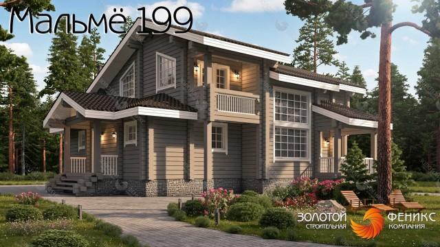 Красивый дом 12х16 из клееного бруса со сложной многоскатной крышей, мансардой, 4 спальнями, вторым светом