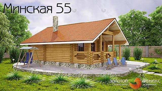 """Баня из бревна """"Минская 55"""""""
