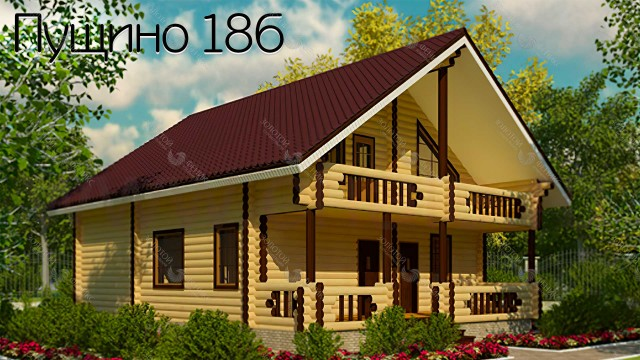 "Дом из оцилиндрованного бревна ""Пущино 186"""