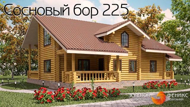 """Дом из оцилиндрованного бревна """"Сосновый бор 225"""""""