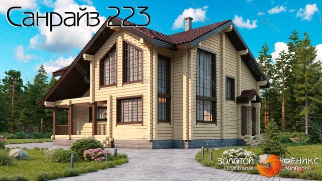 Большой мансардный дом из клееного бруса со вторым светом, комнатой на 1 этаже, 4 спальнями