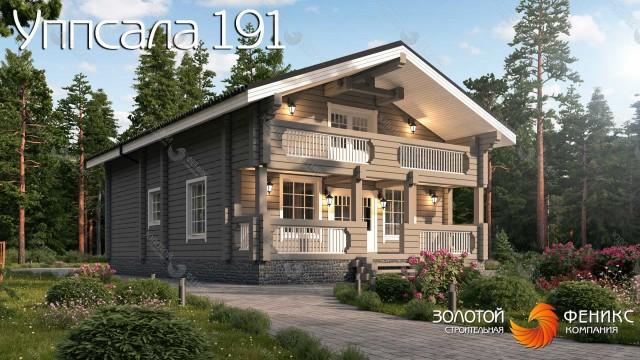 Выгодный в строительстве дом из клееного бруса с мансардой, 3 спальнями, террасой и балконом