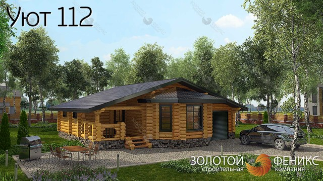 """Дом из оцилиндрованного бревна с гаражом """"Уют 112"""""""